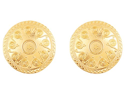 Touchstone Indian Bollywood Ethnic Style Carving Embossing Work Round Shape Bahubali Inspired Designer Jewelry Earrings for Women in Gold Tone.