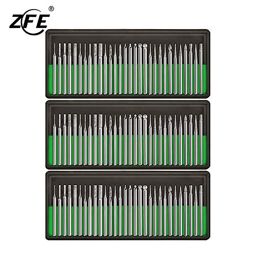 ZFE Diamond Burr Bits Drill Kit For Engraving Carving Rotary Tool- 1/8