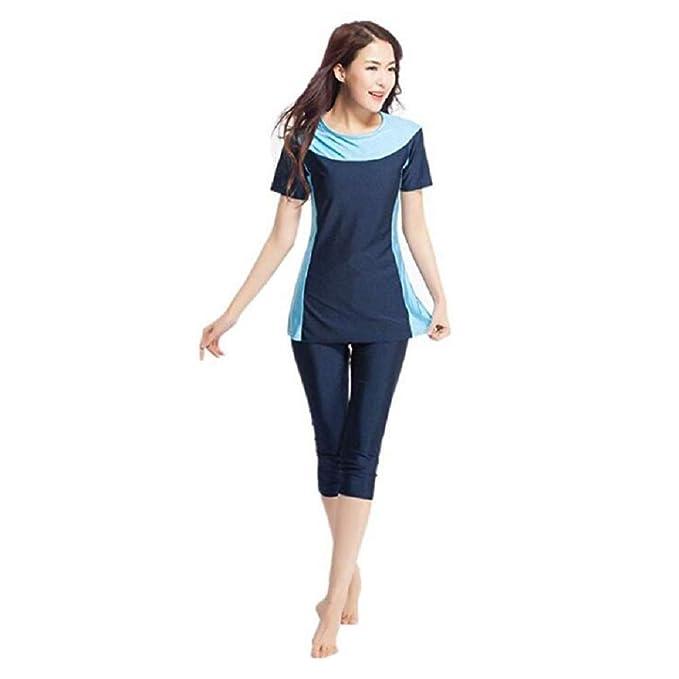 Muslim Islamic Women Modest Swimwear Tops Clothes Crop Pants Burkini Swimsuit
