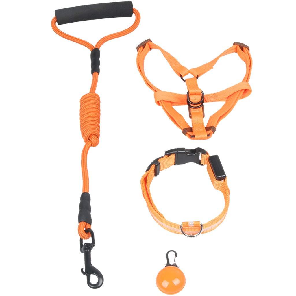 orange M orange M Illuminated Traction Dog Leash,Illuminated Collar, Luminous Pendant,Dog Artifact, Moving Free,Medium and Small Dog Leash (color   orange, Size   M)