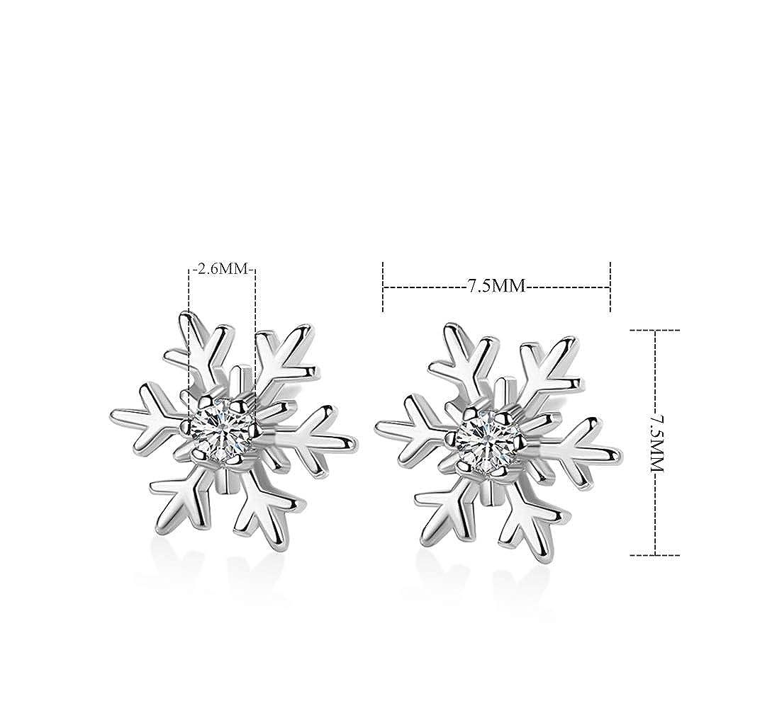 Kokoma Cubic Zirconia Snowflake Flower Stud Earrings 925 Sterling Silver Rhinestone Christmas Studs