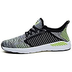 Men's Women's Fashion Breathable Sneakers Mesh Soft Sole Casual Athletic Lightweight Running Shoes (Women 8.5 D(M) US /Men 7 D(M) US, Gray-green)
