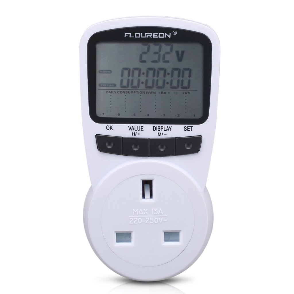 Floureon Power Meter AC 110V~270V 13A Max UK Switch Energy Plug Energy Monitor with LCD Display for Power Consumption Cost Meter Watt Voltage Amp Meter