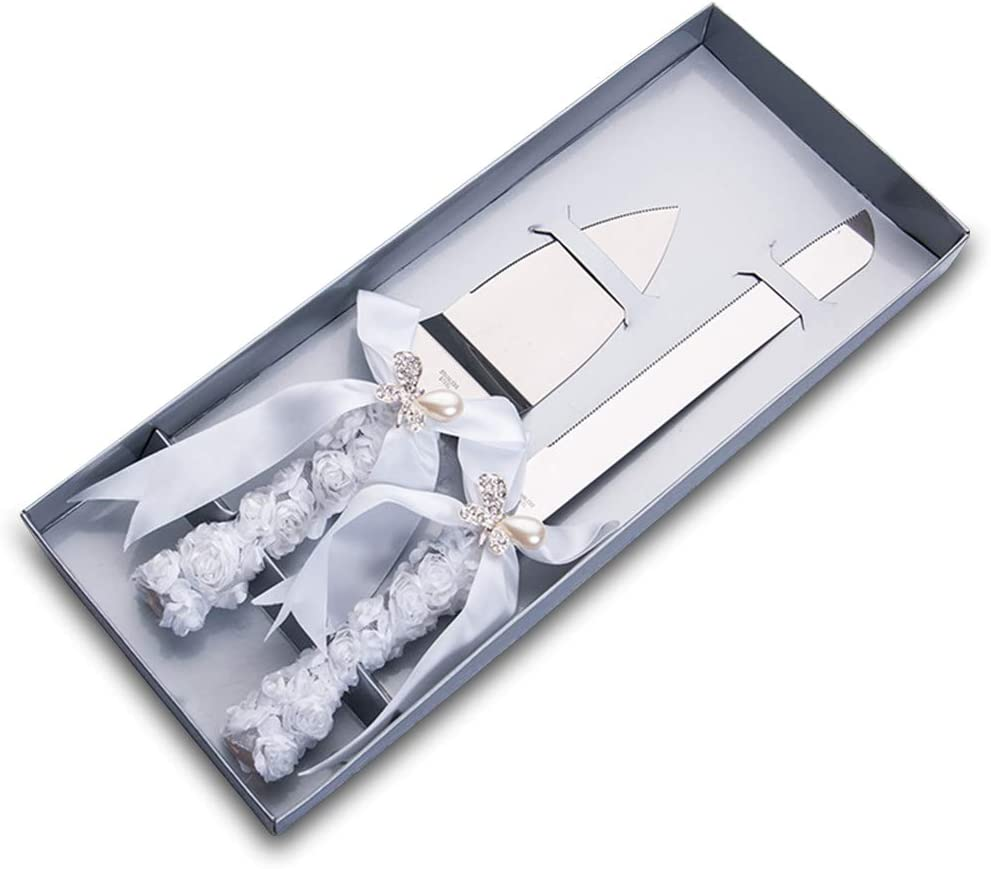 Srood 2 Pcs Silk Rose Ribbon With Pearl Butterfly Bow Style Stainless Steel Wedding Cake Knife Cutter Server Set For Wedding Anniversary Engagement Birthday Party With Gift Box Price In Saudi Arabia
