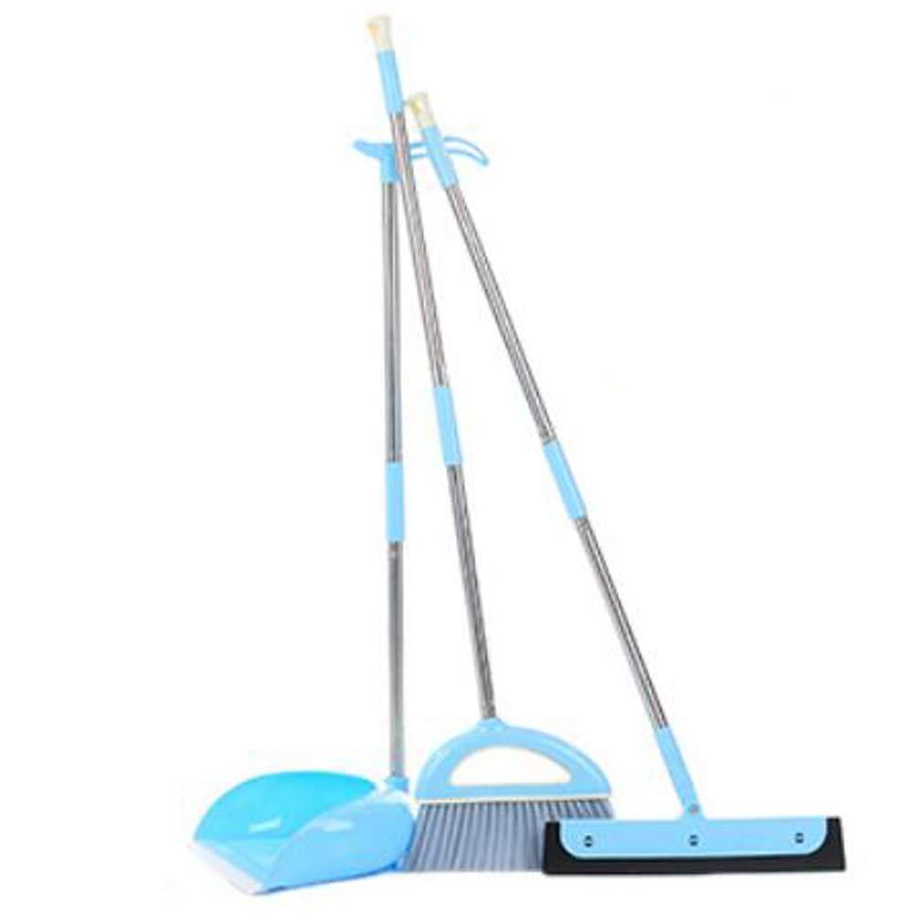 3PCS Flexible & Durable Long Handle Dustpan and Brush Broom Set Lobby Home Kitchen Bathroom Modern Comfort Grip, Blue