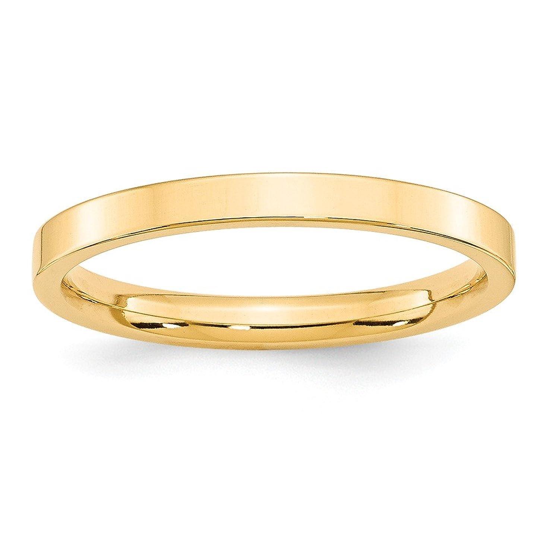 14k Yellow Gold 2.5mm Standard Flat Comfort Fit Mens Womens Wedding Anniversary Band Size 5