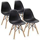 JUMMICO Mid Century Modern Style Kitchen Dining Chair Wood Legs Pre Assembled DSW Chair Dining Side Chairs for Dining, Living Room, Bedroom Shell Lounge Armless Plastic Chair Set of 4 (Black)