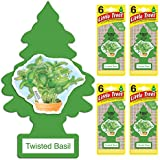 LITTLE TREES Car Air Freshener | Hanging Tree Provides Long Lasting Scent for Auto or Home | Twisted Basil, 6-packs (4 count)