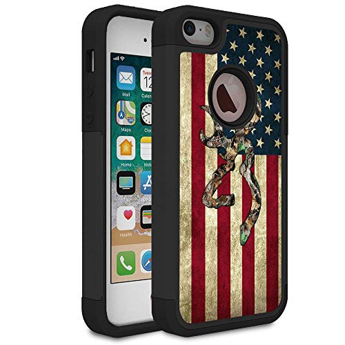 (iPhone 5S Case,iPhone SE Case,iPhone 5 Case,Rossy Camo American Flag Design Shock-Absorption Hard PC and Soft Silicone Dual Layer Hybrid Armor Defender Protective Case Cover for Apple iPhone 5S/SE/5)