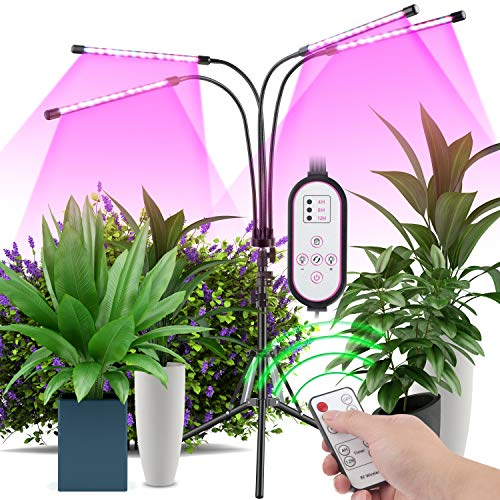 Plant Grow Light with Stand Stand Tripod Adjusted 11-63 in, Four-Head Full-Spectrum Floor Plant Light, 40W LED 9 Kinds…