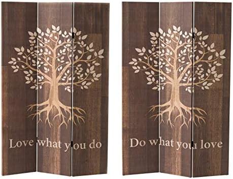 Biombo Separador de Ambientes, Plegable. Diseño Árbol de la Vida, para Comedor/Salon, 120X2,5X180 cm.-Hogarymas-: Amazon.es: Hogar