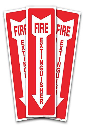 (3 Pack) Fire Extinguisher Sign - High Quality - Self Adhesive 4 X 12