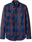 G-Star Raw Men's Tacoma Deconstructed Shirt L/s, Dark Indigo/Aubergine Check, X-Large