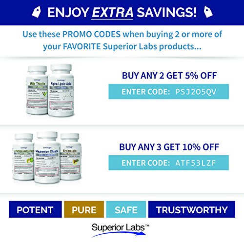 Superior Labs – Pure L-Tryptophan – 500mg, 120 Vegetable Capsules – Non-GMO Dietary Supplement – Restful Sleep & Relaxation – Maintains Serotonin Levels – Helps Improve Circulation & Reduce Stress. by Superior Labs (Image #4)