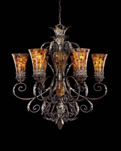 Minka Metropolitan N6516-468 Salamanca - Six Light Chandelier, Cattera Bronze Finish with Pen Shell Glass