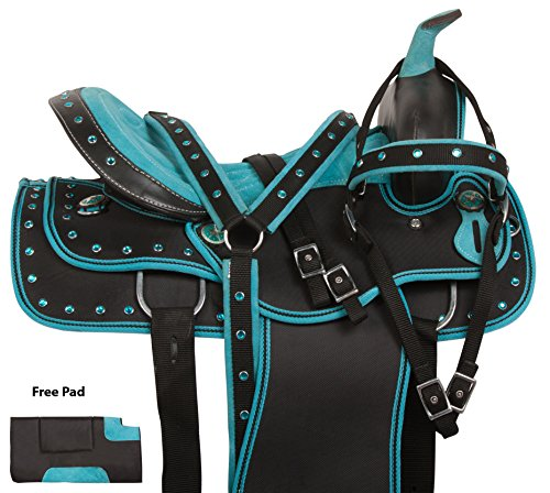 "14"" 15"" 16"" 17"" 18"" TURQUOISE PRO SERIES WESTERN SYNTHETIC LIGHT WEIGHT PREMIUM SHOW TRAIL HORSE SADDLE TACK SET HEADSTALL REINS BREAST COLLAR PAD (15)"