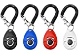 Dog Training Clicker, [2017 NEW UPGRADE version] 4 Pack Pet Training Clicker with Wrist Strap by Grealthy (4 color new)