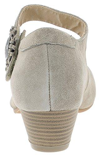 HIRSCHKOGEL Damen Pumps 3002710 Trachtenschuhe | Oktoberfestschuhe | Dirndlschuhe| Schuhe Zum Drindl | Schuhe zur Lederhose | Pumps zur Jeans Taupe