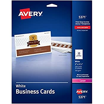 "Avery Business Cards, Uncoated, 2"" x 3-1/2"", 250 Cards (5371)"
