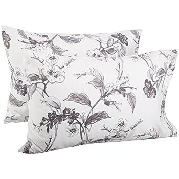 Pinzon Signature 190 Gram Cotton Heavyweight Velvet Flannel Pillowcases, King, Floral Graphite