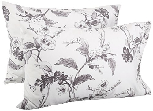 -Gram Cotton Heavyweight Velvet Flannel Pillowcases - King, Floral Graphite (Velvet Floral Sham)