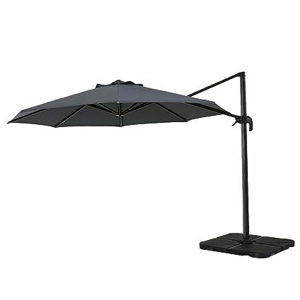 Sumbel Outdoor Living Deluxe Offset Hanging 11 Ft Patio Umbrella, Grey
