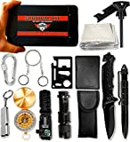 Emergency Survival Kit 15 in 1 - Outdoor Survival Gear Tools with Tactical Bracelet, Compass, Fire Starter, Flashlight, Wire Saw, Whistle for Military, Hiking, Climbing & Camping
