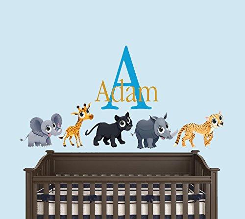 (Custom Name Safari Animals Theme - Leopard Elephant Panther Giraffe and Rhino - Baby Boy / Girl - Wall Decal Nursery For Home Bedroom Children (34