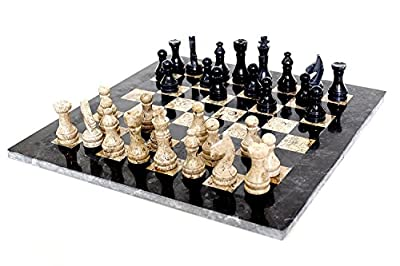 INA KI 16 Inches Large Handmade Black and Fossil Coral Marble Chess Game Set