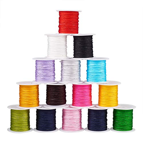 PH PandaHall 15 Colors 0.8mm Nylon Beading String Knotting Cord, Chinese Knotting Cord Nylon Shamballa Macrame Thread Beading Cord, 10.93yards/ Roll