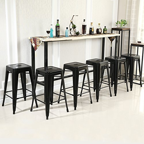 [Belleze 26-inch Metal Counter Vintage Bar Stools (Set of 6), Black] (Bar Stool 6 Finishes)