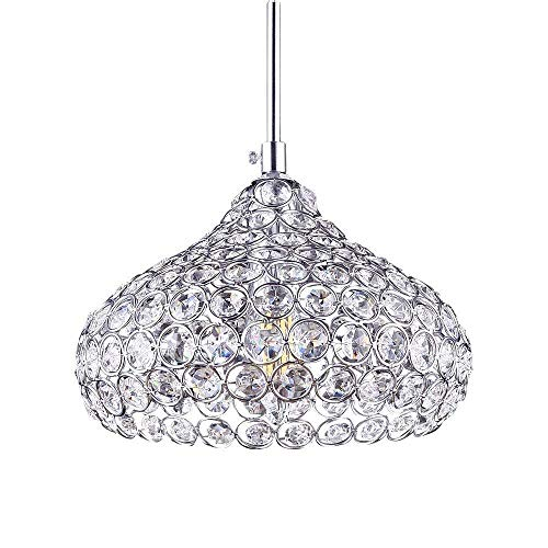 ZLIANG Modern Style K9 Crystal Flush Mount 1 Light Cup Lampshade Ceiling Chandeliers for Dining Room/Bedroom/Living Room/Restaurant,bar[Energy Class A++],Silver
