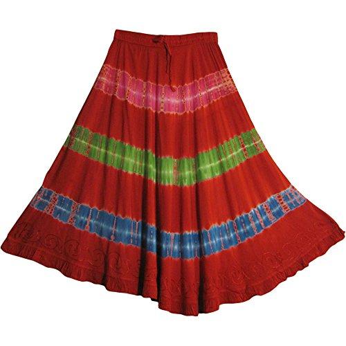 Yoga Trendz Indian Tie-Dye Stonewashed Embroided Gypsy Mid-Length Skirt Zena ()
