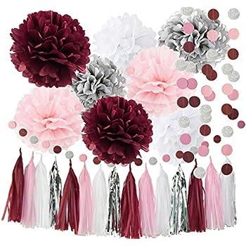 Amazon Qians Party Bridal Shower Decorations Burgundy Pink