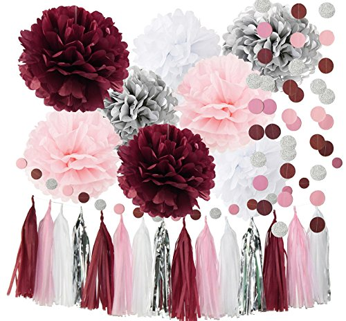 Qian's Party Bridal Shower Decorations Burgundy Pink White Silver Wedding Decorations Tissue Paper Pom Pom Tassel Garland Burgundy Pink Birthday Party Decorations/Bachelorette Party Decorations -