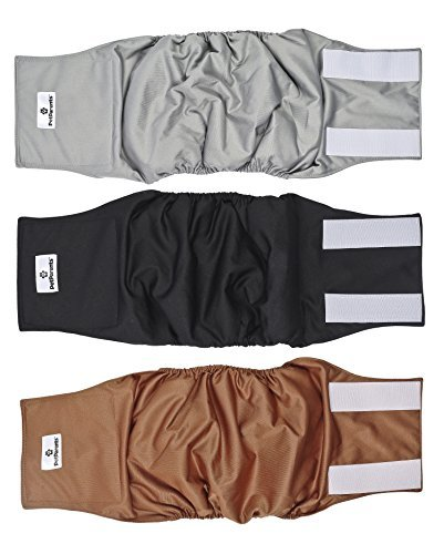 Washable Dog Belly Band (3pack) of Male Dog Diapers, Color Natural, Size: Large Dog Wraps ()
