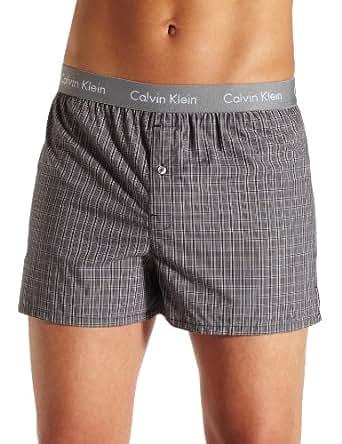 Calvin Klein Men's Matrix Boxer Woven Slim Fit, Finn Plaid, Small