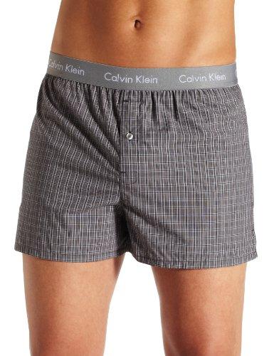 Calvin Klein Men's Matrix Boxer Woven Slim Fit, Finn Plaid, ()
