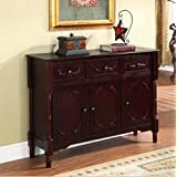 Wood Console Table with Storage - This Accent Furniture Has 2 Cabinets and 3 Drawers w/ Adjustable Shelves - Perfect Decor That Can Be Placed in Your Dining or Living Room - 1 Year Warranty! (Cherry)