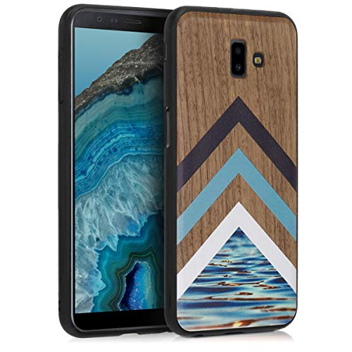 kwmobile Wooden Protection case for Samsung Galaxy J6+ / J6 Plus DUOS - Hard case with TPU Bumper Wood and Water Walnut
