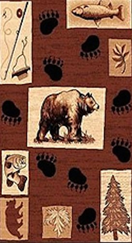 5X8 Country Theme Bear Fishing Paws Tan Brownlodge Cabin by Persian Rugs