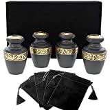 Serenity Black Beautiful Small Mini Keepsake Urn for Human Ashes - Set of 4 - with Velvet Case and 4 Pouches