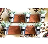 Indoor Wall Planter -Wood Grain Horizontal Mount with Chalk Labels (one Row of 3 pots)