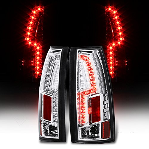 Chevy Tahoe GMC Yukon 1500 2500 3500 LED Tail Light Rear Brake Lamps Pair (Chrome)