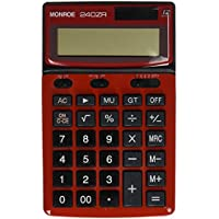 Monroe Systems for Business Monroe 240Z Red Handheld Calculator. Commercial-grade 12-digit handheld battery/solar powered calculator with large digits and tilt able display.