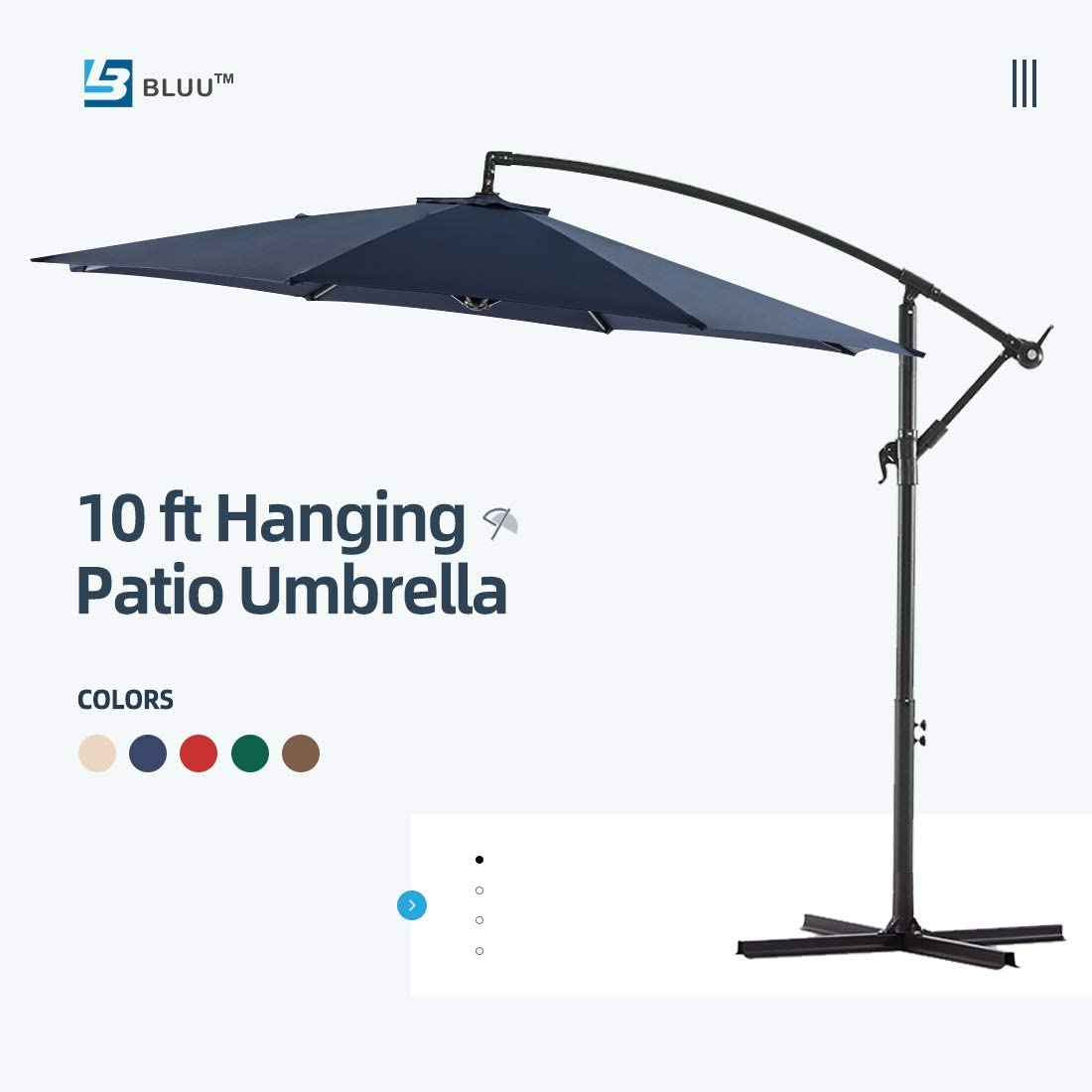 Brick Red WUFF Bluu 10ft Patio Offset Umbrella Cantilever Umbrella Hanging Market Umbrella Outdoor Umbrellas with Crank /& Cross Base