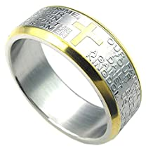 Konov Jewelry Mens Womens Stainless Steel Ring, Cross Pray, Gold Silver, with Gift Bag, C24829