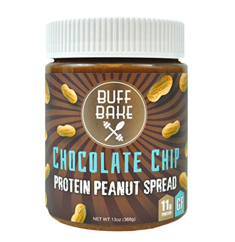 Buff Bake   Protein Peanut Spread   Chocolate Chip   Chia   Flax   13 Oz  Jar