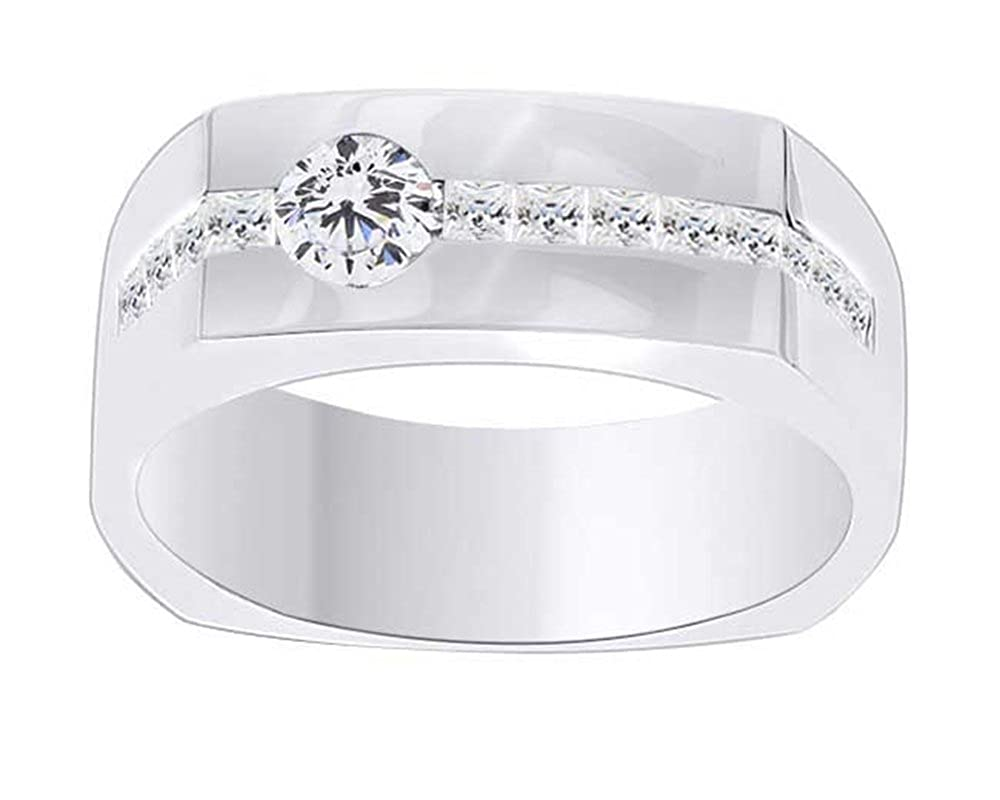 1.18 Ct Wishrocks Princess Cut CZ Solitaire Mens Band Rings 14K Gold Over Sterling Silver