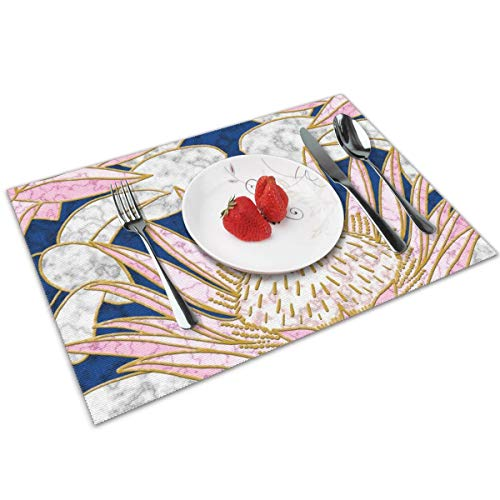 Luase Blush King Protea Art Deco (Midnight) Table Placemats for Dining Table,Washable Placemat Heat-Resistant Set of 6(12X18 inch)